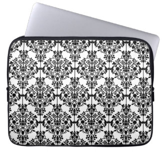 Girly Black WHite Floral Damask Pattern Laptop Sleeve