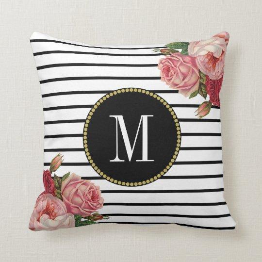 Girly Black White Striped Vintage Floral Monogram Cushion