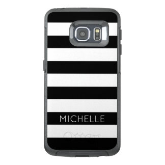 Girly Black White Stripes Custom Name Monogram