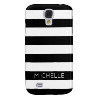 Girly Black White Stripes Custom Name Monogram Galaxy S4 Case