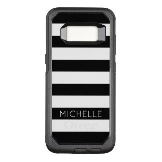 Girly Black White Stripes Custom Name Monogram OtterBox Commuter Samsung Galaxy S8 Case
