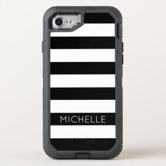 Girly Black White Stripes Custom Name Monogram OtterBox Defender iPhone 7 Case
