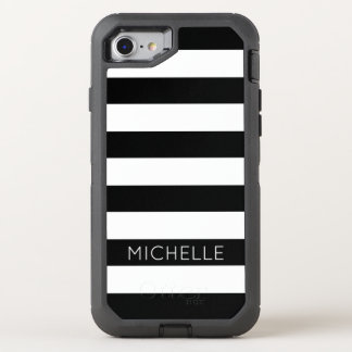 Girly Black White Stripes Custom Name Monogram OtterBox Defender iPhone 8/7 Case