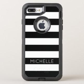 Girly Black White Stripes Custom Name Monogram OtterBox Defender iPhone 8 Plus/7 Plus Case
