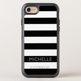 Girly Black White Stripes Custom Name Monogram OtterBox Symmetry iPhone 8/7 Case