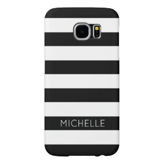 Girly Black White Stripes Custom Name Monogram Samsung Galaxy S6 Cases