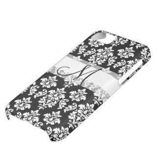 Girly Black White Vintage Damask Your Monogram iPhone 5C Case