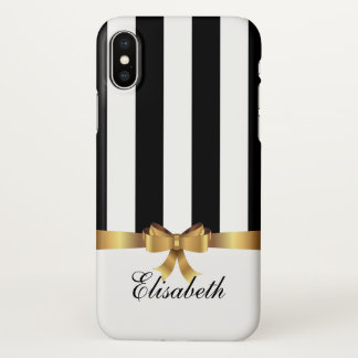 Girly BlackVertical Stripes Gold BOW personalized iPhone X Case