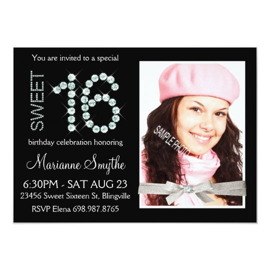 Girly Bling Diamond and Silver Glitter Sweet 16 Card