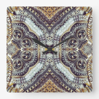 girly bling vintage grey Gold Exotic Medallion Square Wall Clock