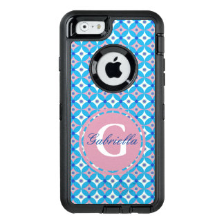 Girly Blue and Pink Diamond Polka Dot Monogram OtterBox Defender iPhone Case