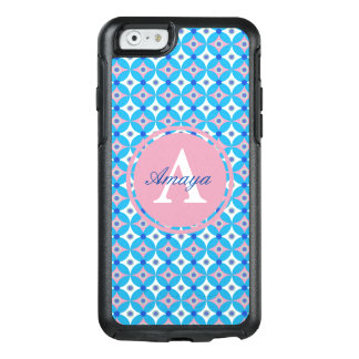 Girly Blue and Pink Diamond Polka Dot Monogram OtterBox iPhone 6/6s Case