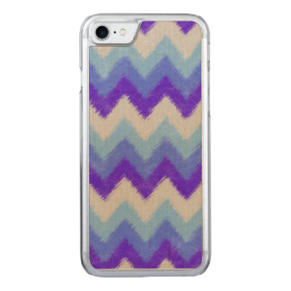 Girly Blue and White Bohemian Chevron Pattern Carved iPhone 8/7 Case