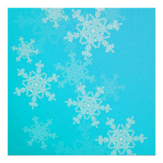 Girly blue and white Christmas snowflakes Print