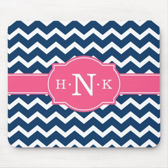 Girly Blue Chevron Pink Monogram Mouse Mat