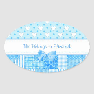 Girly Blue Country Style With Name Oval Stickers