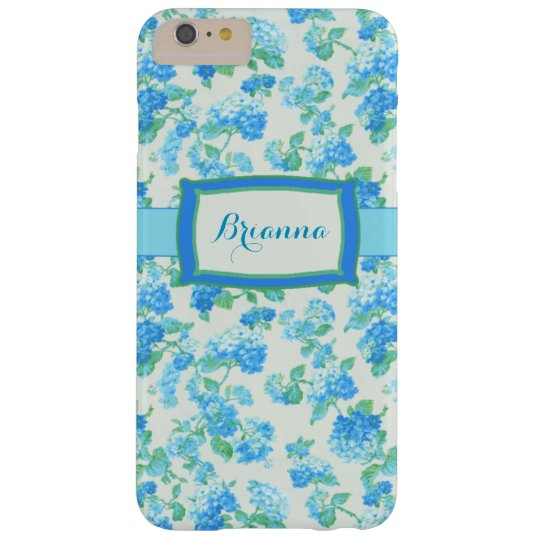 Girly Blue Floral Personalised Barely There iPhone 6