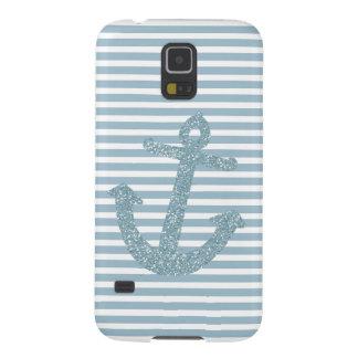 Girly Blue Glitter Anchor Galaxy S5 Case