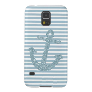 Girly Blue Glitter Anchor Galaxy S5 Covers
