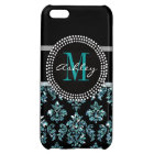 Girly Blue Glitter Black Damask Personalised Cover For iPhone 5C