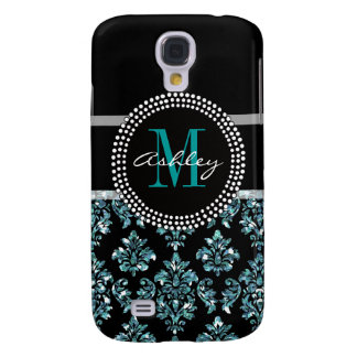 Girly Blue Glitter Black Damask Personalized Galaxy S4 Case