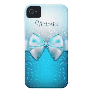 Girly Blue Glitter Holiday iPhone 4 Case