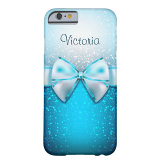 Girly Blue Glitter Holiday iPhone 6 Case Barely There iPhone 6 Case