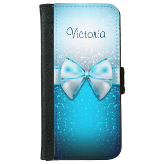 Girly Blue Glitter Holiday iPhone 6 Wallet Case