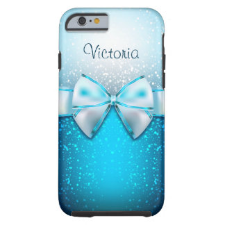 Girly Blue Glitter Holiday Tough iPhone 6 Case