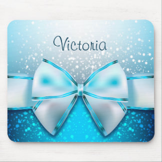 Girly Blue Glitter Sparkles Holiday Mousepad