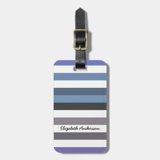 Girly Blue Gray Wide Horizontal Stripes With Name Luggage Tag