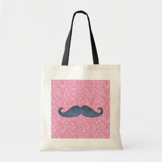 GIRLY BLUE MUSTACHE PINK GLITTER PHOTO TOTE BAGS
