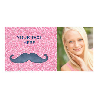GIRLY BLUE MUSTACHE PINK GLITTER PHOTO CARD