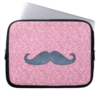 GIRLY BLUE MUSTACHE PINK GLITTER PHOTO LAPTOP SLEEVE