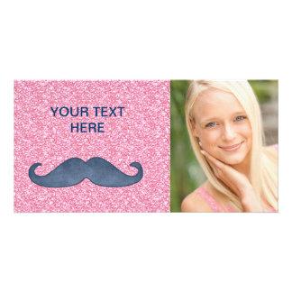 GIRLY BLUE MUSTACHE PINK GLITTER PHOTO PHOTO CARD TEMPLATE
