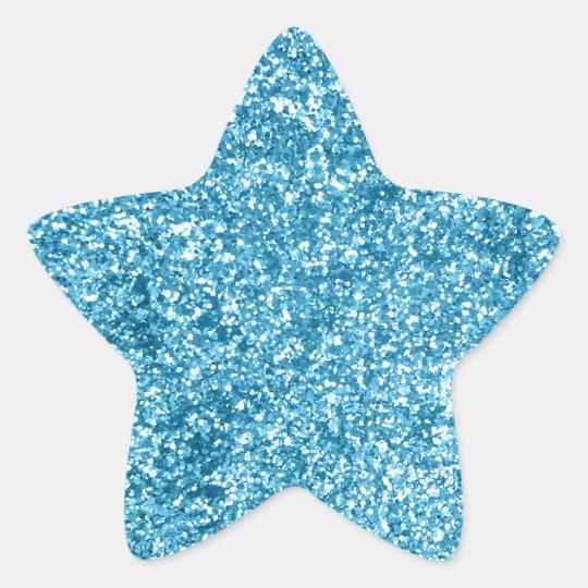 Girly Blue Sparkle Glitter Look Star Sticker