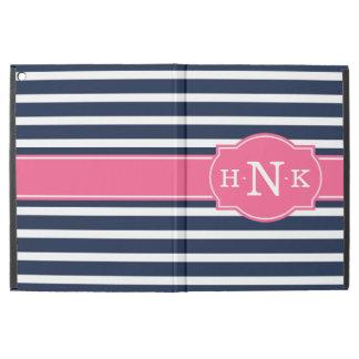 "Girly Blue Stripes Pink Monogram iPad Pro 12.9"" Case"