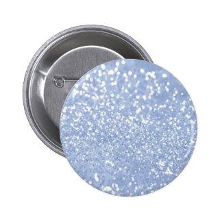 Girly Blue White Abstract Glitter Photo Print 6 Cm Round Badge