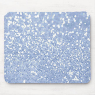 Girly Blue White Abstract Glitter Photo Print Mouse Mat