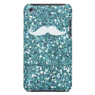 GIRLY BLUE WHITE MUSTACHE PRINTED GLITTER iPod TOUCH Case-Mate CASE