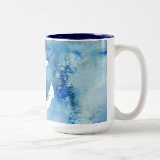 Girly Blue White Watercolor Nautical Anchor Mug
