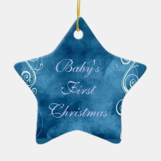 Girly Blue with White Swirls & Curls Ceramic Star Decoration