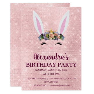 Girly Blush Pink Easter Bunny Birthday Party Card