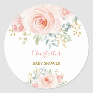 Girly Blush Pink Floral Baby Shower Favour Classic Round Sticker