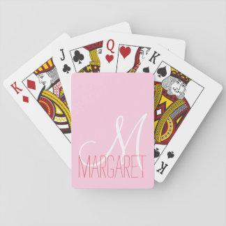 Girly Blush Pink Monogram Playing Cards