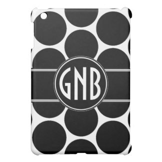 GIRLY BOLD INITIALS BLACK POLKA DOTS COVER FOR THE iPad MINI