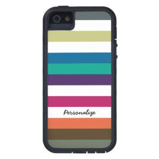 Girly Bold Raibow Big Horizontal Stripes and Name iPhone 5 Cover