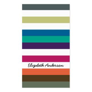 Girly Bold Rainbow Big Horizontal Stripes and Name Business Card Templates