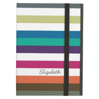 Girly Bold Rainbow Big Horizontal Stripes and Name Cover For iPad Air