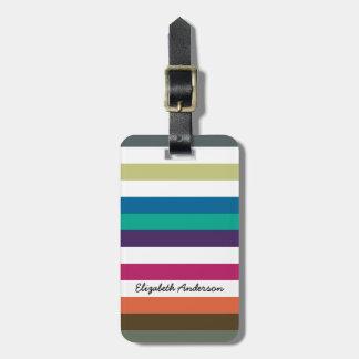 Girly Bold Rainbow Big Horizontal Stripes and Name Luggage Tag